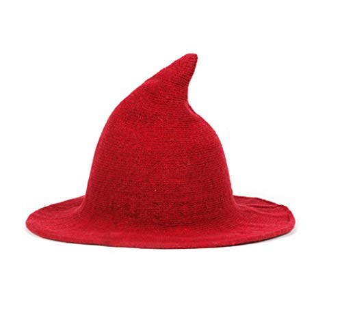 Women Wool Sharp Pointed Witch Hat for Halloween Christmas Costume Party, Modern Large Wide Brim Top Hat, Suitable for All Seasons, Red ()