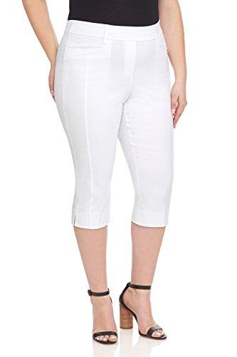 Stretch Wide Leg Crop Pants - Rekucci Women's Ease in to Comfort Curvy Fit Plus Size Capri w/Tummy Control (16W,White)