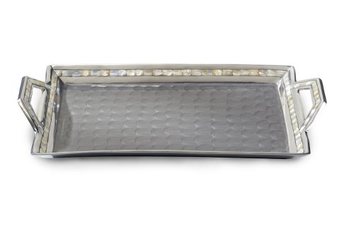 Julia Knight Classic Beveled Tray with Handles, 21-Inch, Platinum, (Julia Handle)