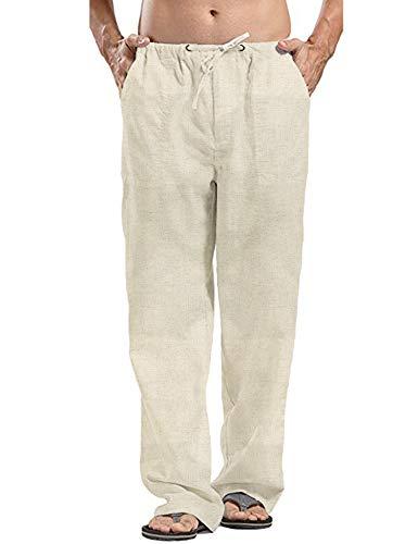 - COOFANDY Men Linen Yoga Beach Cool Long Pants Stretchy Drawstring Waist Trousers