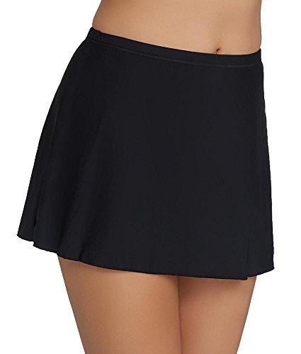 Miraclesuit Classic Skirted Bikini Bottom, 12, Black Miraclesuit Nylon Tankini