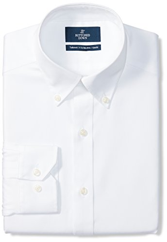 BUTTONED DOWN Men's Tailored Fit Button-Collar Solid Non-Iron Dress Shirt (No Pocket), White, 17.5