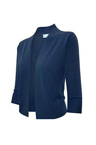 Ever77 Women's 3/4 Sleeve Open Bolero Cardigan/S,M,L,XL/TC1016-Navy,L