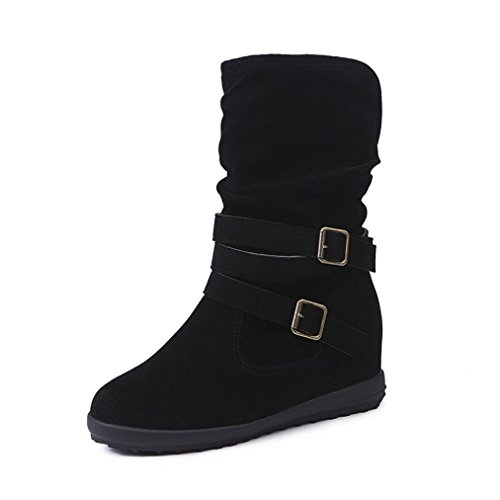 KaiCran Women Winter Boots Womens Low Wedge Buckle Biker Ankle Trim Flat Ankle Boots Shoes ladies (Black, 9) (Block Trim Heel)