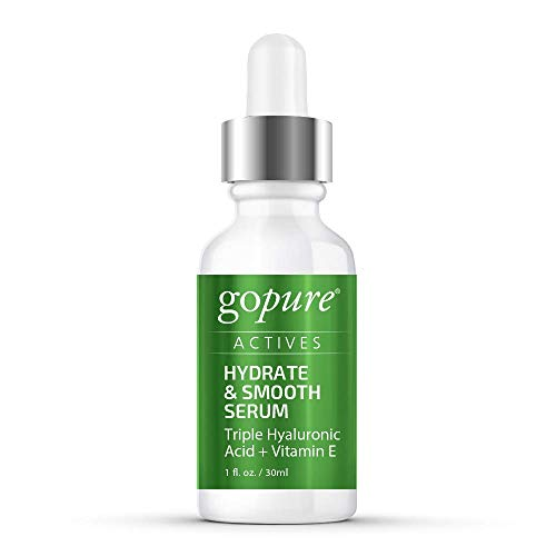 31iohlVp 0L - goPure Actives Hyaluronic Acid Serum with Vitamin E & C for Anti Aging Face Serum Intensely Hydrates & Smoothes Appearance of Deep Wrinkles, Fine Lines, Dark Spots & Acne Scars - Cruelty Free