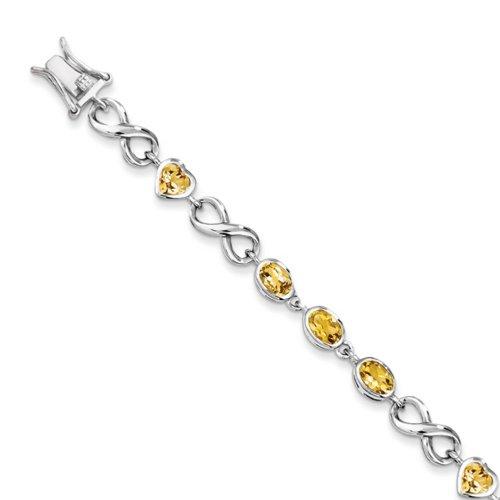 Icecarats Créatrice De Bijoux Bracelet En Argent Sterling Ovale Citrine Cardiaque En 7,75 Pouces