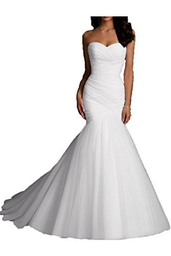 Kittybridal Women Mermaid Wedding Dresses Bridal Dress Wedding Gowns White US17W