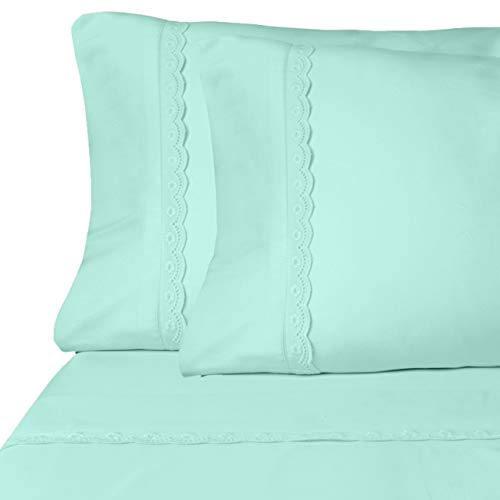 (Eyelet Premium Microfiber Sheet Set - Super Soft, Deep Pocket, Embellished with Hypoallergenic, Wrinkle Resistant and Fade Resistant Brushed Microfiber - 4 Piece Set (Full, Bleached Aqua))