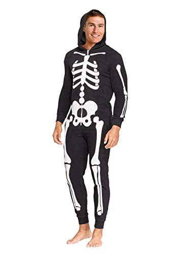 Men's Skeleton Halloween Costume One Piece Union Suit Lounge Zip Up (Large)