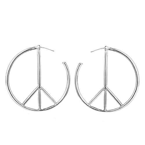 Eiffy Peace Sign Symbol Geometric Stud Earrings Jewelry Minimalist Big Round Hoop Statement Earrings for Women (Silver)