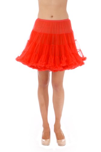 Dance Rock And Roll Costumes (Girls Luxury Petticoat, Poodle Skirt Costume, Crinoline Underskirt, Malco Modes Red)