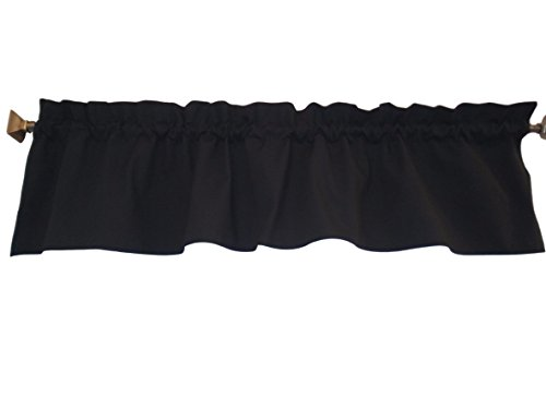 Black Valance Curtain Solid Color. Ruffled on top. Window treatment. Window Decor. Kitchen, classroom, Kids, wide 56