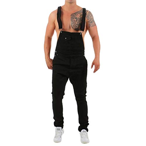 (VEZAD Men's Casual Jeans Jumpsuit Wash Broken Pocket Overall Suspender Pants Black)