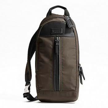 Coach 70692 Men's Brown Varick Nylon Sling Backpack Traveler Bag