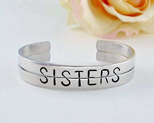 Sisters Bracelet Set, Sister Bracelets for Two, Hand Stamped Split Half Word Cuff Bangle, Best Friends BFF Sorority Besties Friendship Personalized Gift