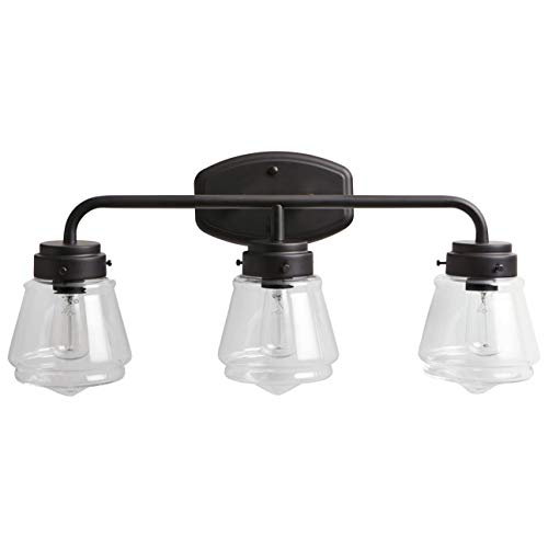 Stone & Beam Vintage Bathroom Vanity Fixture With 3 Light Bulbs And Glass Shade - 25 x 7 x 11.5 Inches, Matte Black