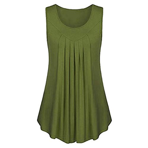 - Sunhusing Women's Solid Color Round Neck Pleated Sleeveless Tank Tops Casual Loose Daily Tunic Top Green
