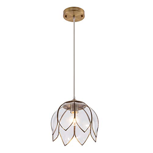 YIFI Deco Brass Pendant Light Lotus Vintage Glass Adjustable Ceiling Pendant Light for Kitchen Island Dining Room Bedroom Living Room, Clear (Pendant Small Capiz)