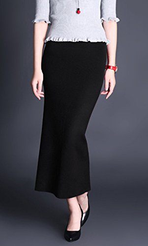 Helan Mujeres color puro Bodycone largo Knitting Back-dividir falda Negro