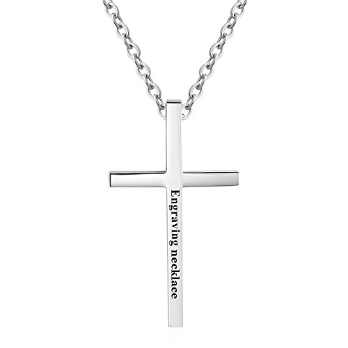 Love Jewelry Personalized Stainless Steel Mens Cross Pendant for Father Christian Bible Verse Engraved Necklace Pendant (Silver_50cm Chain)