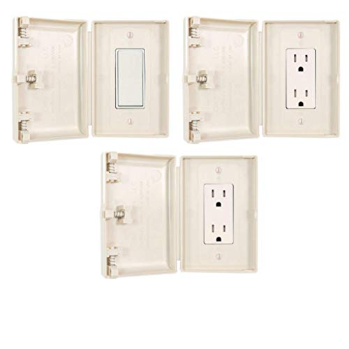 Child Be Safe, Baby and Toddler Resistant Electrical Safety Cover Guard for Modern Wide Light Switch and Outlet, Set of 3 (Almond)