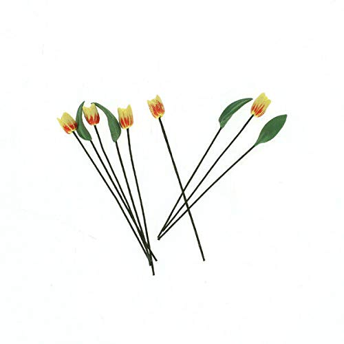 NATFUR 9pcs Artificial Yellow Tulip Flowers and Leaves for1:12 Dollhouse Decoration