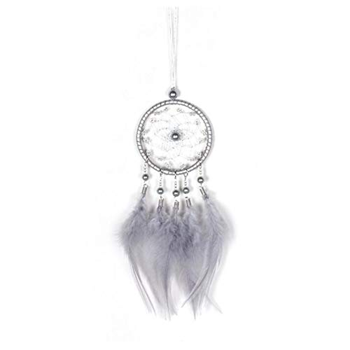 Malicosmile Dream Catchers for Cars Rear View Mirror, Gray Feather Mini Dream Catcher Hanging Decorations Car Charms