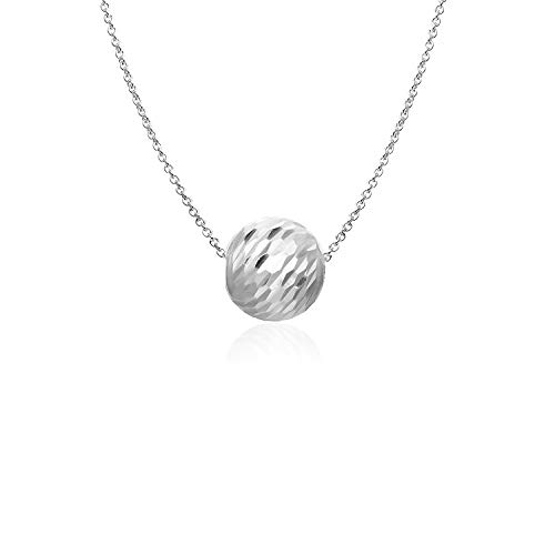Sterling Silver Diamond Cut Bead Ball 10MM Pendant Necklace for Women