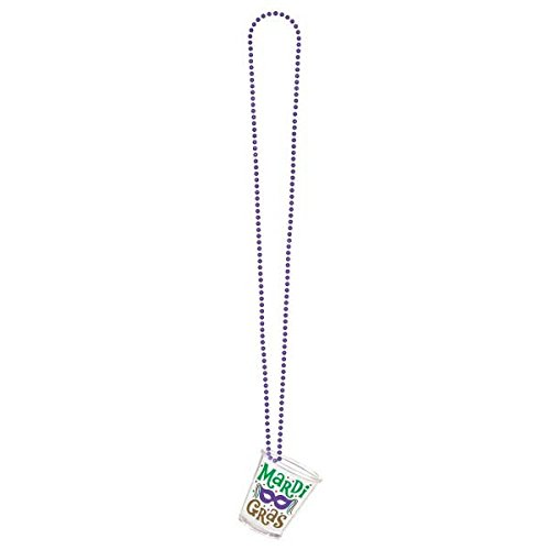 Mardi Gras Shot Glass on a Chain Party Necklace, 36