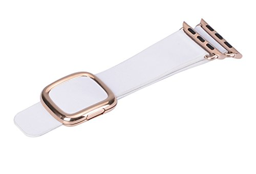 JSGJMY Apple Watch Band 38mm Cuff Leather Loop Original Modern Buckle With Magnetic Clasp Replacement Strap for iwatch Series1 Series2 (38mm White+Rose Gold Buckle)