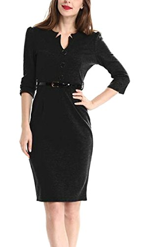 Vestibilità Dalla Nera Matita Cintura Lavoro Moda Di Del Sottile Del Con D'ufficio Delle Donne Aderente Jaycargogo Vestito aqzIIw
