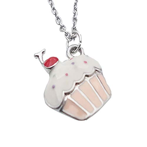 - EGOO YAMZZ Silver White Gold Cupcake Necklace Kids Cute Candyland Copper Crystal Enamel Sweet Jewelry Necklace Gifts for Girls