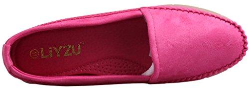 Scarpe Da Donna Liyzu In Pelle Scamosciata Comfort Slip On Casual Mocassini Da Guida Rosa Rossa
