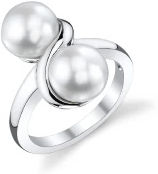 7mm White Freshwater Cultured Pearl Double White Ring
