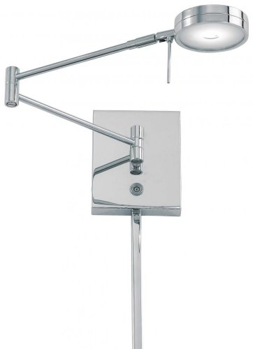 George Kovacs P4308-077, Georges Reading Room, 1 Light LED Swing Arm Lamp, Chrome