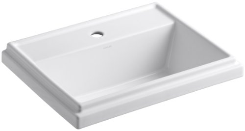 KOHLER K-2991-1-0 Tresham Rectangle Self-Rimming Bathroom Sink with Single-Hole Faucet Drilling, White ()