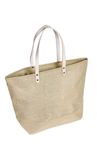 Large Jute Tote bag with Leather Handles Size 19