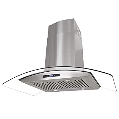 Cosmo Wall Mount Range Hood with Soft Touch Controls, LED Lighting and Permanent Filters