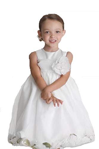 US Angels Satin Tulle Petal Dress (White/White, 3T)
