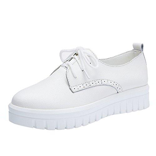 Chéri Temps Femmes Lacent Chaussures À Semelle Épaisse Blanc