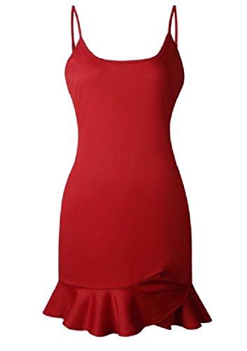 Coolred-femmes Sans Dossier Solide Flouncing Robe De Cocktail Couleur Fronde Cou Carré Rouge