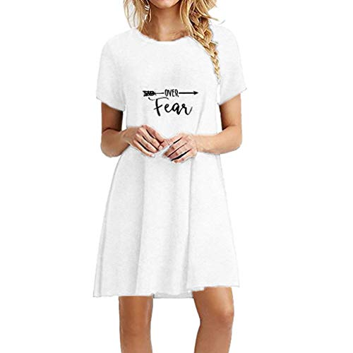 (Casual Swing Simple T-Shirt Loose Dress,Londony❤ Women's Sleeveless Loose Plain Dresses Summer Printed Short Dress White)