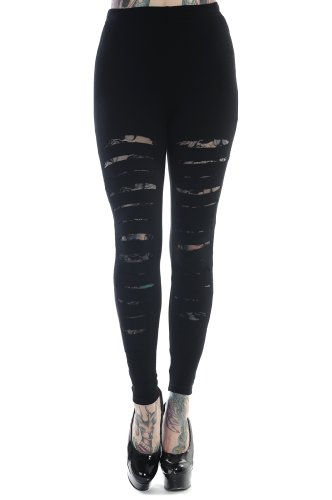 Banned-Rockabilly-Gothic-Cut-up-Cut-Out-Sexy-Ripped-Look-Black-Leggings
