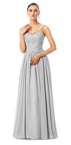 Line Charmian Evening Women's Homecoming Prom Maxi Grau Chiffon Dresses A Formal PExxHSR