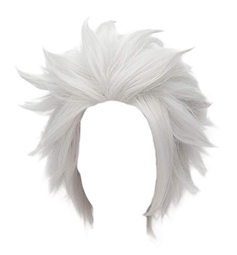 HH Building Anime Short Layered Cosplay Wig Halloween Party Silvery White Hair (Mask Cap Character Half)