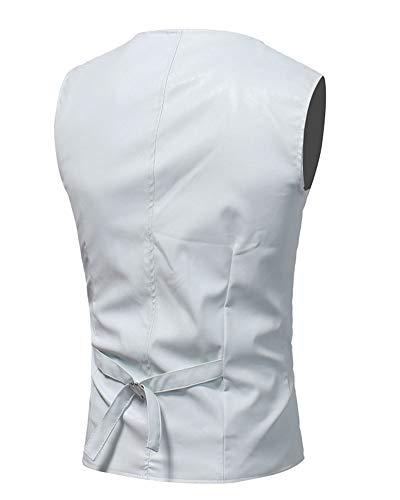 Bouton Couleur Manches Sans Pu Gilet Costume neck Causual Blanc Veste Homme V Unie zXq5w5