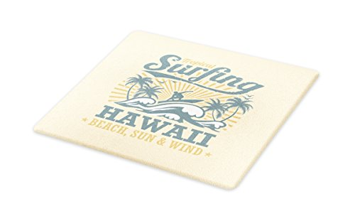 Lunarable Vintage Hawaii Cutting Board, Tropical Beach Wind Surfing Riding the Waves Trees Sun Beams, Decorative Tempered Glass Cutting and Serving Board, Small Size, Cream Bluegrey Pale Coffee by Lunarable