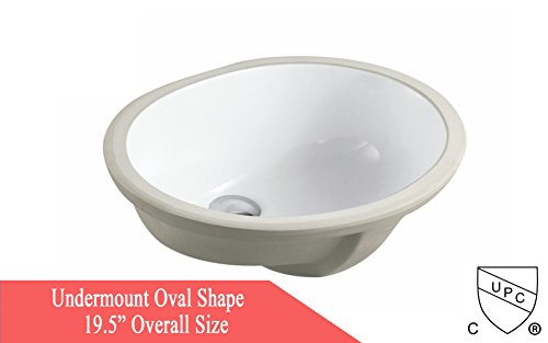 KINGSMAN Oval Undermount Vitreous Ceramic Lavatory Vanity Bathroom Sink Pure White (19.5 INCH) by KINGSMAN