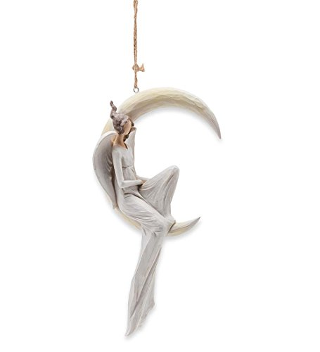 Wind & Weather Indoor Outdoor Resin Angel on Crescent Moon Hanging Ornament 6.75 L x 3.5 W x 14.25 H