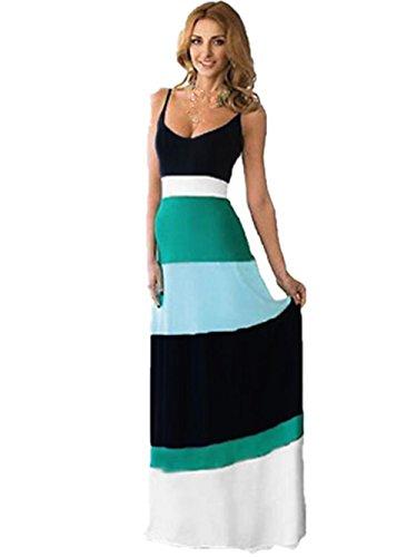 Sommerkleid, Holeider Damen High Waist Streifen Partykleid Ärmellos Abendkleid Bohemian Beach Kleid Elegant Lange Cocktailkleid